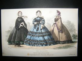 Englishwoman's Domestic Magazine 1860 Hand Col Fashion Print. November